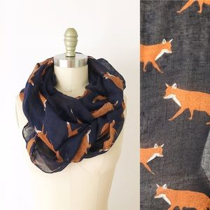 Accessories - Navy Fox Print Infinity Scarf Blue Woodland Foxes